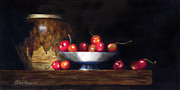 Stoneware Paintings - Cherries by Barry Williamson