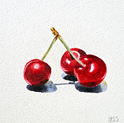 Watercolor By Irina Posters - Cherries Poster by Irina Sztukowski