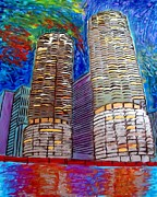 Magnificent Mile Art - Chicago Marina Towers by Char Swift