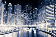 Chicago Black White Posters - Chicago River Buildings at Night Poster by Paul Velgos