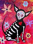 Dog Art Of Chihuahua Framed Prints - Chihuahua Dia De Los Muertos Framed Print by Pristine Cartera Turkus