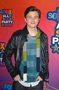 Striped Scarf Prints - Chris Colfer At Arrivals For Fox Print by Everett
