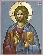 Icon Byzantine Painting Posters - Christ Pantokrator Poster by Julia Bridget Hayes