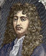 1876 Framed Prints - Christiaan Huygens, Dutch Physicist Framed Print by Sheila Terry