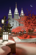 Snowy Evening Prints - Christmas Lights at Temple Square Print by Utah Images