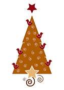 Brown Greeting Cards Prints - Christmas Tree Print by Frank Tschakert