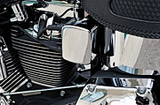 Strength Metal Prints - Chromed motorbike engine Metal Print by Sami Sarkis