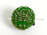 Featured Art - Circuit Board Of Light Bulb by Photo Researchers, Inc.