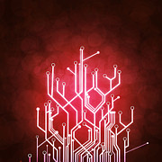 Processor Photo Metal Prints - Circuit Board Metal Print by Setsiri Silapasuwanchai