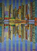 Fabric Mixed Media - City Lights by Bob Craig