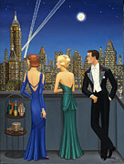 Empire State Building Paintings - City Lights by Tracy Dennison