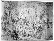 War Drawing Framed Prints - Civil War: Wilderness Framed Print by Granger