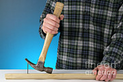 Hammer Art - Claw Hammer And Nail by Photo Researchers