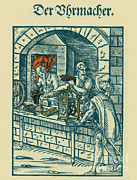 Clockmaker Posters - Clockmaker, Medieval Tradesman Poster by Science Source