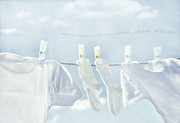 Blue Shirt Prints - Clothes hanging on clothesline Print by Sandra Cunningham