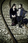 Train Track Prints - Clown Couple Print by Joana Kruse