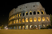 Italy History Posters - Coliseum illuminated at night. Rome Poster by Bernard Jaubert