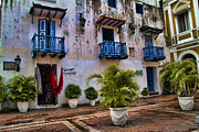 South America Prints - Colonial buildings in old Cartagena Colombia Print by David Smith