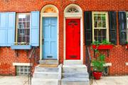 Philadelphia Prints - Colonial Doors Print by Andrew Dinh