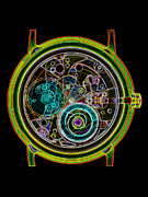 Wrist Watch Prints - Coloured X-ray Of A 17-jewel Wrist-watch Print by D. Roberts