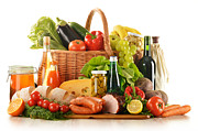 Basket Photo Originals - Composition with variety of grocery products by T Monticello