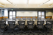 Empty Chairs Framed Prints - Conference Room Framed Print by Andersen Ross