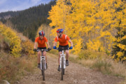 Mountain Biking Posters - Couple on Mountain Bikes Poster by Utah Images