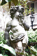 Statue Portrait Digital Art - Courtyard Statue of a Cherub Smelling a Rose French Quarter New Orleans Diffuse Glow Digital Art by Shawn OBrien