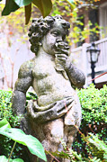 Statue Portrait Digital Art - Courtyard Statue of a Cherub Smelling a Rose French Quarter New Orleans Film Grain Digital Art by Shawn OBrien