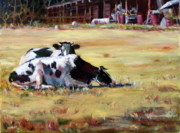 Sleeping Cows Prints - 2 Cows Napping Print by Elaine Schulstad