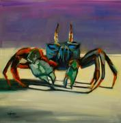 Blue Crab Paintings - Crab Investigator by Diane Whitehead