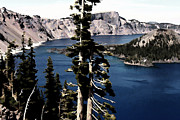 Alpine Digital Art Framed Prints - Crater Lake Framed Print by Bonnie Bruno
