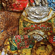 Aluminum Acrylic Prints - Crushed beer cans. Acrylic Print by Bernard Jaubert
