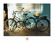 Cuba Posters - 2 Cuban Bicycles Poster by Bob Salo