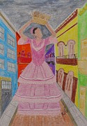 Brick Drawings Metal Prints - Dancer in Viejo San Juan Metal Print by Jessica Cruz
