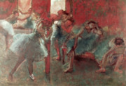 Blue Pastels Prints - Dancers at Rehearsal Print by Edgar Degas
