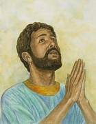 Religion Pastels Posters - Daniel Praying Poster by Robert Casilla