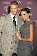 Pinstripe Suit Prints - David Beckham Wearing A Tom Ford Suit Print by Everett