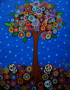 Folk Art Prints Posters - Day Of The Dead Poster by Pristine Cartera Turkus