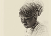 Young Woman In Turban Prints - Deep in thought Print by Sheila Smart