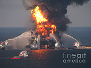 Oil Spill Framed Prints - Deepwater Horizon Fire, April 21, 2010 Framed Print by Science Source