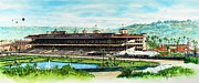 Horse Images Framed Prints - Del Mar Race Track Framed Print by John YATO