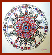 Intricate Drawings Framed Prints - Delicate Mandala Framed Print by Gladys Childers