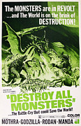 1960s Poster Art Framed Prints - Destroy All Monsters, Aka Kaiju Framed Print by Everett
