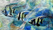 Needle Tapestries - Textiles Originals - Detail of Water by Kimberly Simon