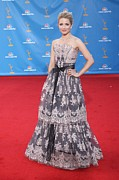 Atas Emmys Awards Framed Prints - Dianna Agron Wearing A Carolina Herrera Framed Print by Everett