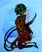 Africa Dinka Paintings - Dinka Bride - South Sudan by Gloria Ssali