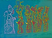 Dinka Paintings - Dinka Wise Virgins by Gloria Ssali