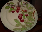 Dinner Glass Art - Dinner Plate Flowers by Diane Morizio