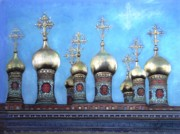 Onion Domes Painting Posters - Domes Above the Moscow Kremlin Poster by Janet Grappin